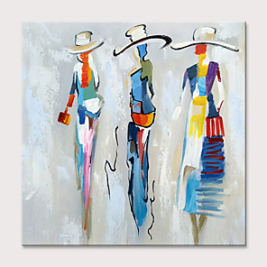 cheap Abstract Paintings-Oil Painting Hand Painted - Abstract People Classic Modern Rolled Canvas