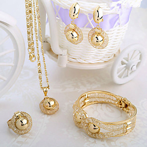 cheap Jewelry Sets-Women's White Bracelet Bangles Pendant Necklace Tennis Chain Mushroom Letter Ball Dainty Stylish Classic European Fashion 18K Gold Plated Imitation Diamond 18K Gold Earrings Jewelry Gold For