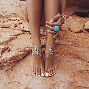 cheap Hair Jewelry-Barefoot Sandals Ankle Bracelet Classic Vintage European Women's Body Jewelry For Daily Carnival Layered Alloy Silver 1pc