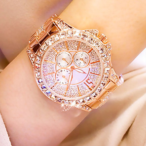 cheap Quartz Watches-Women's Quartz Watches Classic Fashion Silver Gold Rose Gold Stainless Steel Chinese Quartz Rose Gold Gold Silver Water Resistant / Waterproof Casual Watch Cool 30 m 1 pc Analog One Year Battery Life