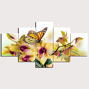 cheap Prints-Print Stretched Canvas Prints - Landscape Animals Traditional Modern Five Panels Art Prints