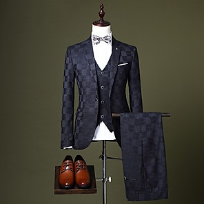 cheap Wedding Party Dresses-Burgundy / Black / Royal Blue Checkered Tailored Fit Polyester Suit - Notch Single Breasted One-button