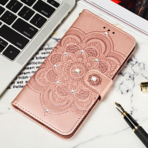 cheap Other Phone Case-Case For Google Google Pixel 3 / Google Pixel 3 XL / Google Pixel 3a XL Wallet / Card Holder / Rhinestone Full Body Cases Flower Hard PU Leather