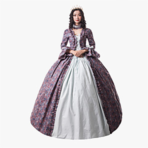 cheap Historical & Vintage Costumes-Princess Maria Antonietta Victorian Renaissance Dress Party Costume Masquerade Women's Lace Costume White Vintage Cosplay Christmas Halloween Party / Evening 3/4 Length Sleeve Floor Length Ball Gown
