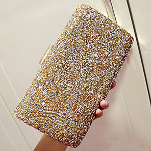 cheap Clutches & Evening Bags-Women's Rhinestone PU Evening Bag Solid Colored Black / Gold / Silver