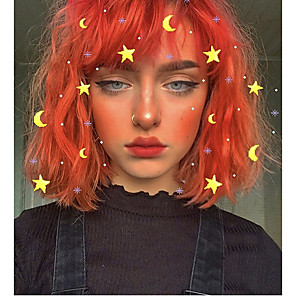 cheap Synthetic Lace Wigs-Synthetic Wig Natural Wave Rihanna Bob Wig Short Orange Synthetic Hair 12inch Women's Synthetic New Lovely Rose Pink / Natural Hairline / Doll Wig / Natural Hairline
