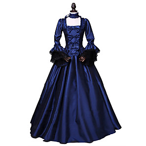 cheap Historical & Vintage Costumes-Princess Rococo Victorian Dress Party Costume Costume Women's Cotton Costume Ink Blue Vintage Cosplay Masquerade Party & Evening Long Sleeve Floor Length Long Length Plus Size