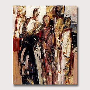 cheap Abstract Paintings-Oil Painting Hand Painted - Abstract People Vintage Modern Rolled Canvas