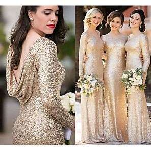 cheap Party Hats-Bateau Neck Sequined Bridesmaid Dress with Sequin by JUDY&JULIA