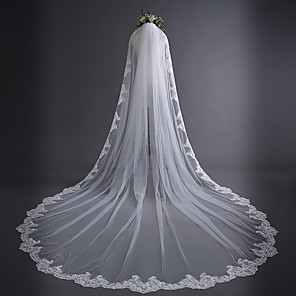 cheap Wedding Veils-One-tier Lace Applique Edge / Classic Wedding Veil Cathedral Veils with Appliques 118.11 in (300cm) Lace / Tulle / Oval