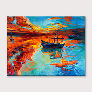 cheap Landscape Paintings-Oil Painting Hand Painted - Abstract Landscape Modern Rolled Canvas