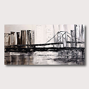 cheap Landscape Paintings-Hand Painted Stretched Oil Painting Canvas Ready to hang Abstract  Style Material High Quantity Wall Art Modern Cityscape Bridge