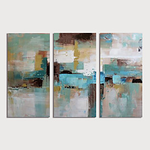 cheap Oil Paintings-Oil Painting Hand Painted - Abstract Modern Stretched Canvas / Three Panels