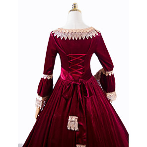cheap Historical & Vintage Costumes-Princess Rococo Victorian Dress Party Costume Costume Women's Cotton Costume Red Vintage Cosplay Masquerade Party & Evening Long Sleeve Floor Length Long Length Plus Size