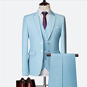 cheap Custom Tuxedo-Sky Blue / Ruby / Royal Blue Solid Colored Slim Fit Nylon / Chinlon Suit - Notch Single Breasted Two-buttons