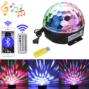 cheap Portable Speakers-1 set LED Stage Lights Sound Control Bluetooth Music Mp3 Colorful Magic Ball Rotating Light Bar DJ Light