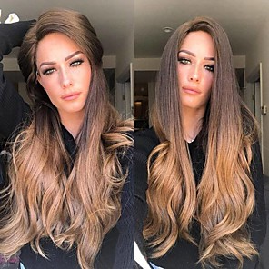 cheap Synthetic Trendy Wigs-Synthetic Wig kinky Straight Middle Part Wig Long Dark Brown / Golden Blonde Synthetic Hair 26 inch Women's Women Dark Brown