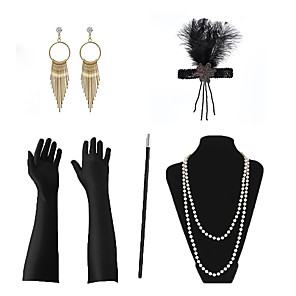 cheap Hiking Trousers & Shorts-Necklace Earrings Costume Accessory Sets Outfits Masquerade Retro Vintage 1920s The Great Gatsby Artificial feather For The Great Gatsby Cosplay Halloween Carnival Women's Costume Jewelry Fashion