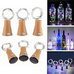 cheap LED String Lights-1m Cork Fairy String Lights Wine Bottle Lamp 10 LEDs SMD 0603 Cold White Festival Party Decorative Solar Powered 6pcs