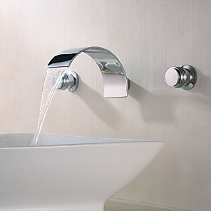 cheap Bathroom Sink Faucets-Bathroom Sink Faucet-Handle Faucet Separate Waterfall Chrome Wall Mount Two Handle Three Hole Bathroom Faucet