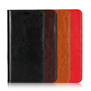 cheap Other Phone Case-Case For Motorola Moto X4 / MOTO G6 / Moto G6 Play Wallet / Card Holder / with Stand Full Body Cases Solid Colored Hard Genuine Leather