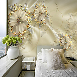 cheap Wallpaper-3D Gold Flower Diamond Modern Bling Wall Mural Wallpaper Living Room Bedroom