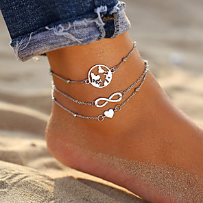 cheap Rings-Ankle Bracelet Trendy Fashion Women's Body Jewelry For Daily Holiday Layered Alloy Maps Heart Silver 2pcs