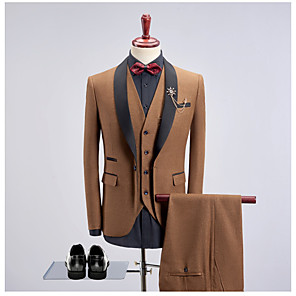 cheap Custom Tuxedo-Dark Green / Khaki / Royal Blue Solid Colored Slim Fit Cotton Suit - Shawl Collar Single Breasted One-button