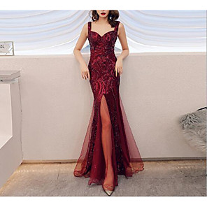 cheap Evening Dresses-Mermaid / Trumpet Sparkle Red Prom Formal Evening Dress Spaghetti Strap Sleeveless Floor Length Tulle Sequined with Sequin Split Front 2020