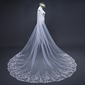 cheap Wedding Veils-One-tier Lace Applique Edge / Elegant & Luxurious Wedding Veil Cathedral Veils with Appliques / Paillette 118.11 in (300cm) Lace / Tulle / Oval