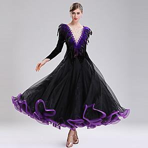 cheap Ballroom Dancewear-Ballroom Dance Dress Split Joint Crystals / Rhinestones Women's Training Performance Long Sleeve Natural Mesh Velvet Feather / Fur