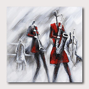 cheap Oil Paintings-Oil Painting Hand Painted - Abstract People Comtemporary Modern Stretched Canvas