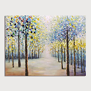 cheap Floral/Botanical Paintings-Oil Painting Hand Painted - Landscape Modern Rolled Canvas
