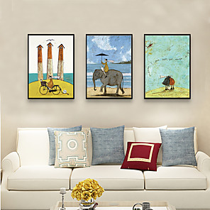 cheap Landscape Paintings-Framed Art Print Framed Set - People Cartoon PS Illustration Wall Art