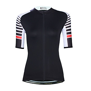 cheap Cycling Jerseys-ILPALADINO Women's Short Sleeve Cycling Jersey Elastane Black Bike Jersey Top UV Resistant Quick Dry Moisture Wicking Sports Clothing Apparel