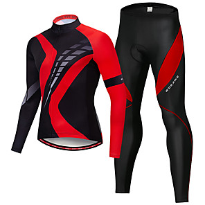 cheap Cycling Jersey & Shorts / Pants Sets-WOSAWE Men's Long Sleeve Cycling Jersey with Tights Black / Red Bike Clothing Suit 3D Pad Quick Dry Reflective Strips Sports Silicone Elastane Mountain Bike MTB Road Bike Cycling Clothing Apparel
