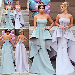 cheap Prom Dresses-Mermaid / Trumpet Strapless Sweep / Brush Train Jersey Bridesmaid Dress with Beading / Appliques