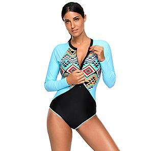 cheap Wetsuits, Diving Suits & Rash Guard Shirts-Women's One Piece Swimsuit Retro Padded Bodysuit Swimwear Fuchsia Blue Breathable Quick Dry Front Zipper Long Sleeve - Swimming Water Sports Summer / Nylon / Elastane / Patchwork / Patchwork