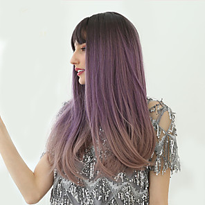 cheap Synthetic Trendy Wigs-Synthetic Wig kinky Straight Natural Straight Bob Neat Bang With Bangs Wig Long Brown / White Black / Purple Synthetic Hair 24 inch Women's Synthetic Lovely Comfortable Black Purple HAIR CUBE