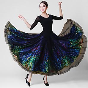 cheap Ballroom Dancewear-Ballroom Dance Dress Glitter Split Joint Women's Training Performance 3/4 Length Sleeve Natural Crystal Cotton Mesh Elastane