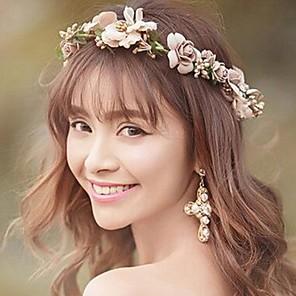 cheap Party Headpieces-Chiffon Satin Headbands Flowers Wreaths Headpiece