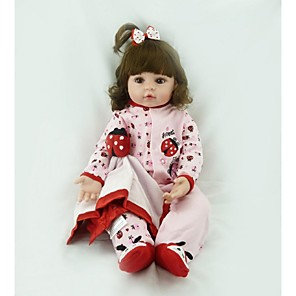 cheap Reborn Doll-20 inch Reborn Doll Baby Girl Safety Cute Artificial Implantation Brown Eyes Cloth 3/4 Silicone Limbs and Cotton Filled Body with Clothes and Accessories for Girls' Birthday and Festival Gifts