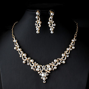 cheap Necklaces-Women's Pearl Bridal Jewelry Sets Link / Chain Flower Botanical Dainty Elegant Fashion Cute Imitation Pearl Rhinestone Earrings Jewelry Gold / Silver / Golden Pearl For Wedding Party Gift Engagement