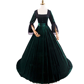 cheap Historical & Vintage Costumes-Princess Rococo Victorian Dress Party Costume Costume Women's Cotton Costume Black Vintage Cosplay Masquerade Party & Evening Long Sleeve Floor Length Long Length Plus Size