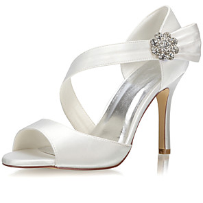 cheap Wedding Shoes-Women's Wedding Shoes Glitter Crystal Sequined Jeweled Stiletto Heel Open Toe Lace / Satin Spring &  Fall / Summer Ivory / Party & Evening