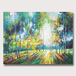 cheap Abstract Paintings-Oil Painting Hand Painted - Abstract Landscape Classic Modern Rolled Canvas