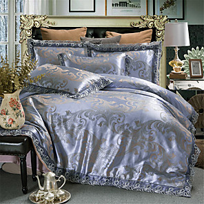 cheap Lamp Bases & Connectors-Duvet Cover Sets Solid Colored / Luxury Polyster Jacquard 4 PieceBedding Sets