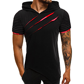 cheap Quartz Watches-Men's Graphic Solid Colored Slim T-shirt - Cotton Basic Street chic Daily Casual Hooded Black / Red / Army Green / Rainbow / Gray / Short Sleeve