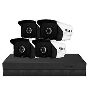 cheap NVR Kits-3 million H.265 POE 4-way set of surveillance cameras Household equipment POE network audio HD night vision camera set meal