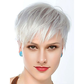 cheap Human Hair Capless Wigs-Human Hair Wig Short Straight Natural Straight Layered Haircut Silver Best Quality New Comfortable Capless Women's All Sliver White / African American Wig